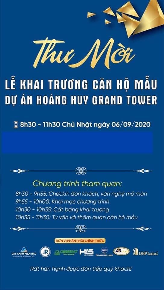 Giấy mời dự khai trương căn hộ mẫu Hoàng Huy Grand Tower - Duyên Hải LAND